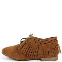 Breckelle's Sandy-24 Fringe Lace Up Oxfords | MakeMeChic.com