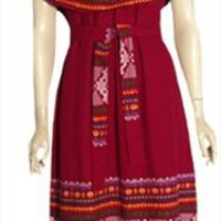 Burgundy Vintage Guatemalan Dress