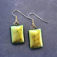 Gold Earrings, Dichroic Earrings, Drop Earrings, Surgical Steel Earring Wires - Havana - 957 -3