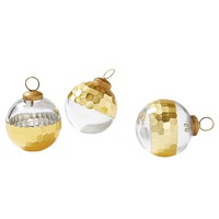 Plated Glass Ornaments – Gold (Set of 3) | Serena & Lily