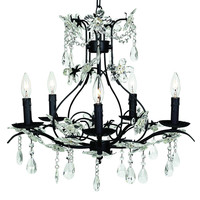 5 Light Chandelier Fleur de Crystale Shabby Chic B