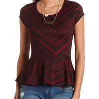 TRIBAL PRINT CAP SLEEVE PEPLUM TOP