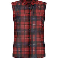 Innocence Red Sleeveless Check Shirt
