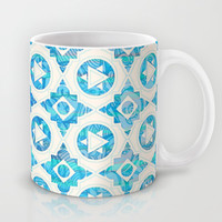 Aqua Blue & Off White Geometric Pattern Mug by micklyn