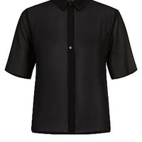Black Boxy Chiffon Short Sleeve Shirt