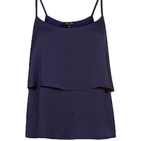 Navy Sateen Double Tier Cami