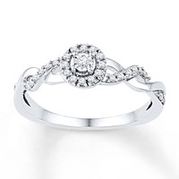 Diamond Promise Ring 1/6 ct tw Round-cut 10K White Gold