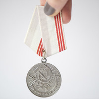 Soviet medal Veteran of Labor grey/red ribbon USSR order vintage gift