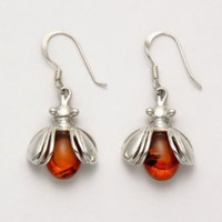 Sterling Silver Bee Wire Earrings with Amber Stone Body