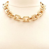 TEXTURED CHUNKY CHAIN LINK NECKLACE