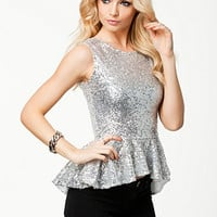 New Year Sequin Peplum Top