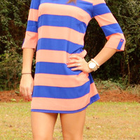 Striped all Over: Royal/Orange