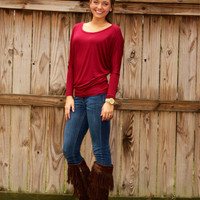 Dolman Tunic Top: Burgandy