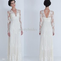 Wholesale 2013 Wedding - Buy Custom Made Elegant Pleat Lace Chiffon White Ivory Long Sleeve Bridal Gown Prom Party Dress Wedding Dresses RL3465, $112.5 | DHgate