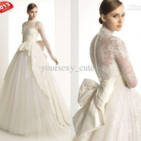 Wholesale Ball Gown Wedding Dresses - Buy 2013 New Luxury Long Sleeve Wedding Dress High Neck Ball Gown Bowknot Button Tulle/Lace Wedding Gown, $181.82 | DHgate