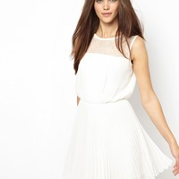 Elise Ryan Skater Dress in Eyelash Lace with Pleated Skirt