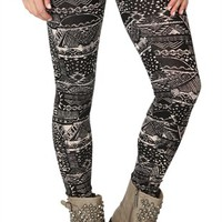 Black and Tan Legging with Distressed Aztec Print