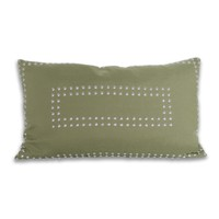 Rectangular Gaga Double Nailhead Pillow - Iguana Green