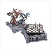 Dragon And Knight Medieval Chess Board Game Set Decor