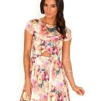 Missguided - Elodie Floral Cut Out Skater Dress