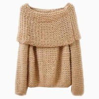 Tan Boat Neck Knit Sweater