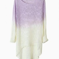 Purple Dip Dye Loose Knit Sweater