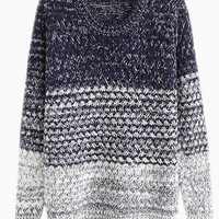 Navy Dip Dye Knit Sweater