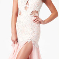 (PRE-ORDER) Mac Duggal 2014 Prom Dresses - Blush Chiffon & Lace Form-Fitting Bodice Prom Gown