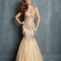 Night Moves by Allure 2014 Prom Dresses - Champagne Tulle Sunburst Mermaid Prom Gown