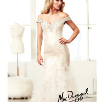 (PRE-ORDER) Mac Duggal 2014 Prom Dresses - Ivory & Nude Rhinestone & Lace Off Shoulder Tiered Mermaid Gown