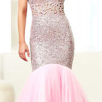 (PRE-ORDER) Mac Duggal 2014 Prom Dresses - Baby Pink Rhinestone & Sequin Cut Out Mermaid Gown