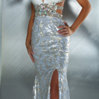 SALE! Mac Duggal 2013 Prom Dresses - Ivory & Gold Sequin Dress with Rhinestone Embellishments