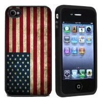 Rubber Grunge USA American Flag Case Cover for iPhone 4 4s