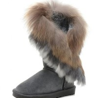 Women's Indian Style Fox Fur Tall Boots