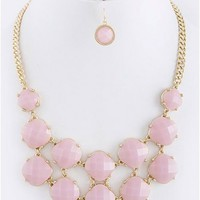 Romantic Jewel Necklace in Pink