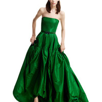 Oscar de la Renta Strapless Silk Gown & Crystal-Buckle Faille Belt