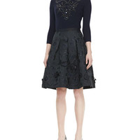 Oscar de la Renta 3/4-Sleeve Embroidered Cashmere Knit Top & Flared Skirt