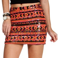 Orange/Multi Color Sequin Mini Skirt