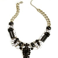 Black/White Rhinestone Statement Necklace