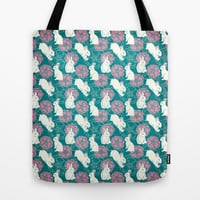 Bouncing White Rabbits Tote Bag by Rosy Designs