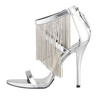 B Brian Atwood Condessa Fringe Sandal, Silver