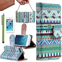 Pandamimi ULAK(TM) Wristlet Wallet Card Holder Type Magnet Design Flip Case Cover for Apple iPhone 5S 5 5G and Screen Protector with Touch Stylus (Green Tribal)