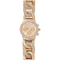GOLD TONE ENCRUSTED CURB CHAIN WATCH