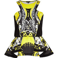 YELLOW GRAPHIC PRINT SCUBA PEPLUM TOP