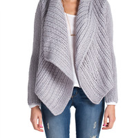 Chunky Knit Asymmetrical Lapel Cardigan