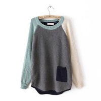 Grey Contrast Long Sleeve Pocket Loose Sweater