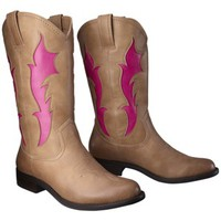 Women's Xhilaration® Skye Tall Cowboy Boot with Flames - Tan/Pink