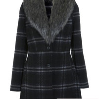 Fur Collar Check Coat - Coats & Jackets - Apparel