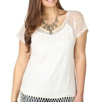 Plus Size Lace Dolman Top with Fringe Trim