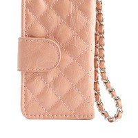 QUILTED CHAIN STRAP PHONE WRISTLET